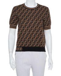 Fendi Black & Brown Zucca Monogram Intarsia Knit Top