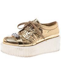 Chanel Metallic Gold Foil Leather Creepers Platform Trainers Size 38