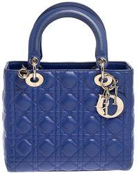Dior Blue Cannage Leather Medium Lady Tote
