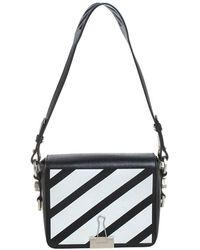 Off-White c/o Virgil Abloh Black/white Diagonal Print Leather Binder Clip Crossbody Bag