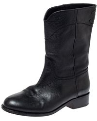 Chanel Black Leather Cc Mid Length Boots