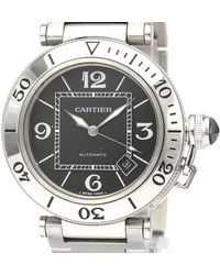 Cartier Black Stainless Steel Pasha Seatimer W31077m7 Automatic Wristwatch 40 Mm