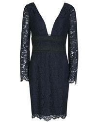 a3c8e65abe7 Diane von Furstenberg - Deep Night Blue Lace Plunge Neck Long Sleeve Viera  Dress M -