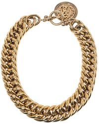 Roberto Cavalli Gold Tone Chain Link Chunky Toggle Necklace - Metallic