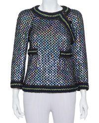 Chanel Black Knit Sequin Embellished Jacket