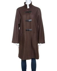 Loro Piana Brown Wool Front Button Detail Long Coat L