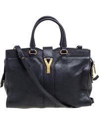 Saint Laurent Black Leather Small Cabas Y-ligne Tote