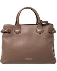 Burberry Brown Leather And House Check Fabric Medium Banner Tote
