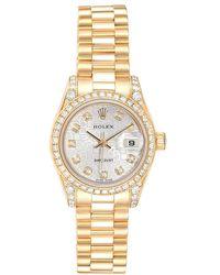 Rolex Champagne Dial 18k Yellow Gold Datejust Diamond Dial & Bezel Women's Watch 26mm - Metallic