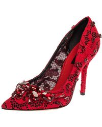 Dolce & Gabbana Dolce And Gabbana Red Lace Crystal Embellished Pointed Toe Pumps