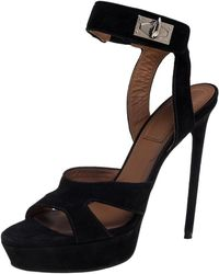 Givenchy Black Suede Shark Lock Sandals