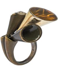 Dior Aged Brass Tone Chester Cocktail Ring Size Eu 54.5 - Metallic