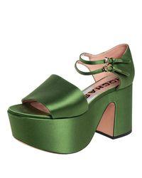 Rochas Green Satin Platform Ankle Strap Sandals