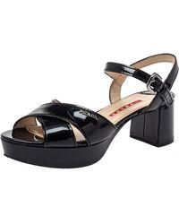 Prada Black Patent Leather Platform Ankle Strap Sandals
