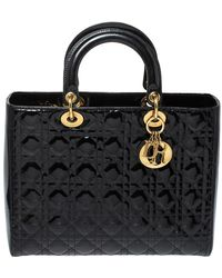 Dior Black Cannage Patent Leather Large Lady Tote