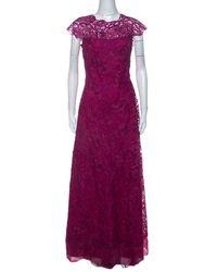 Tadashi Shoji Grape Purple Lace Cap Sleeve Milien Evening Dress