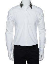Fendi White Cotton Camou Collar Detail Button Front Shirt