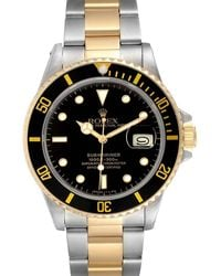 Rolex Black 18k Yellow Gold And Stainless Steel Submariner 16803 Wristwatch 40 Mm