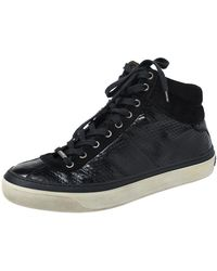 Jimmy Choo Black Suede And Python Embossed Leather High Top Sneakers