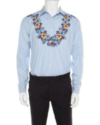 Gucci Blue And White Striped Floral Printed Long Sleeve Skinny Shirt