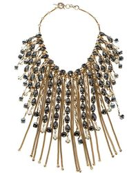 Etro Crystal Studded Gold Tone Tassel Drop Statement Necklace - Metallic