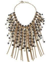 Etro - Crystal Studded Tone Tassel Drop Statement Necklace - Lyst