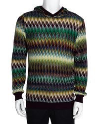 Missoni Multicolour Cotton & Wool Blend Hooded Sweater L - Green