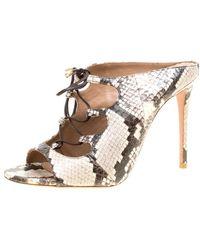 Aquazzura Two Tone Elaphe Leather Flirt Lace Up Peep Toe Mules - Natural