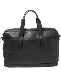 COACH Dark Blue Pebbled Leather Hamilton Laptop Bag