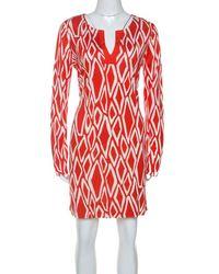 Diane von Furstenberg Coral Red Ikat Print Silk Reina Long Sleeve Dress L