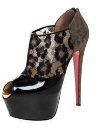 Christian Louboutin Black Leopard Print Lame Fabric/lace And Patent Leather Aerontoc Peep Toe Platform Booties