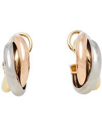 Cartier Trinity 18k Three Tone Gold Hoop Earrings - Metallic