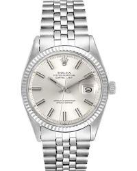 Rolex Silver 18k White Gold Datejust Stainless Steel 1601 Wristwatch 36mm - Metallic