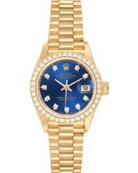 Rolex Blue Diamonds 18k Yellow Gold President Datejust 69178 Wristwatch 26 Mm