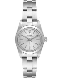 Rolex Silver Stainless Steel Oyster Perpetual 76080 Wristwatch 24 Mm - Metallic