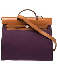Hermès Fauve/cassis Lin Canvas And Leather Herbag Zip 39 Bag - Purple