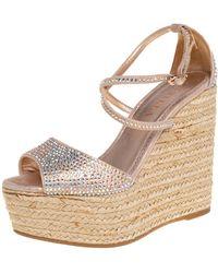 Le Silla Pink Crystal Embellished Suede Espadrille Wedge Platform Ankle Strap Sandals