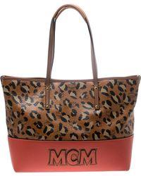 MCM - Animal Print Leather Shopper Tote - Lyst