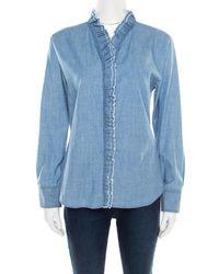 Isabel Marant Etoile Blue Chambray Ruffled Awendy Shirt L