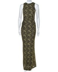 Alice + Olivia Olive Green Embroidered Tulle Open Back Detail Sleeveless Gown