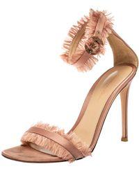 Gianvito Rossi Blush Pink Satin Fringe Trim Caribe Ankle Strap Sandals