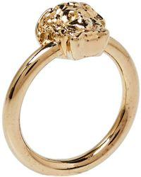 Versace Pale Gold Tone Strong Wrap Medusa Ring - Metallic