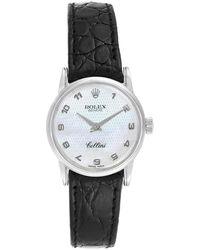 Rolex Mop 18k White Gold Cellini Classic 6111 Women's Wristwatch 26mm