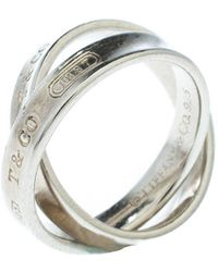 Tiffany & Co. Tiffany 1837 Interlocking Circles Silver Ring Size 50 - Metallic