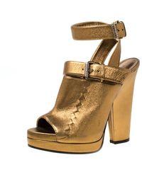 Bottega Veneta Metallic Gold Intrecciato Detail Leather Peep Toe Ankle Wrap Platform Sandals