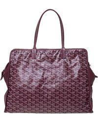 Goyard Burgundy Ine Coated Canvas And Leather Hardy Pm Tote - Purple