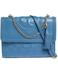 Tory Burch Blue Quilted Leather Fleming Shoulder Bag