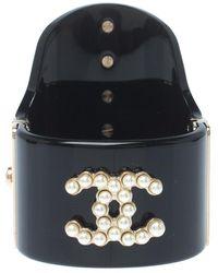Chanel Faux Pearl Black Resin Gold Tone Wide Cuff Bracelet