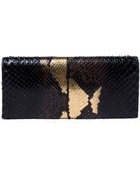 Dior Black/gold Python Lady Chain Clutch