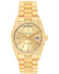Rolex Champagne 18k Yellow Gold President Day-date 18038 Men's Wristwatch 36mm - Metallic
